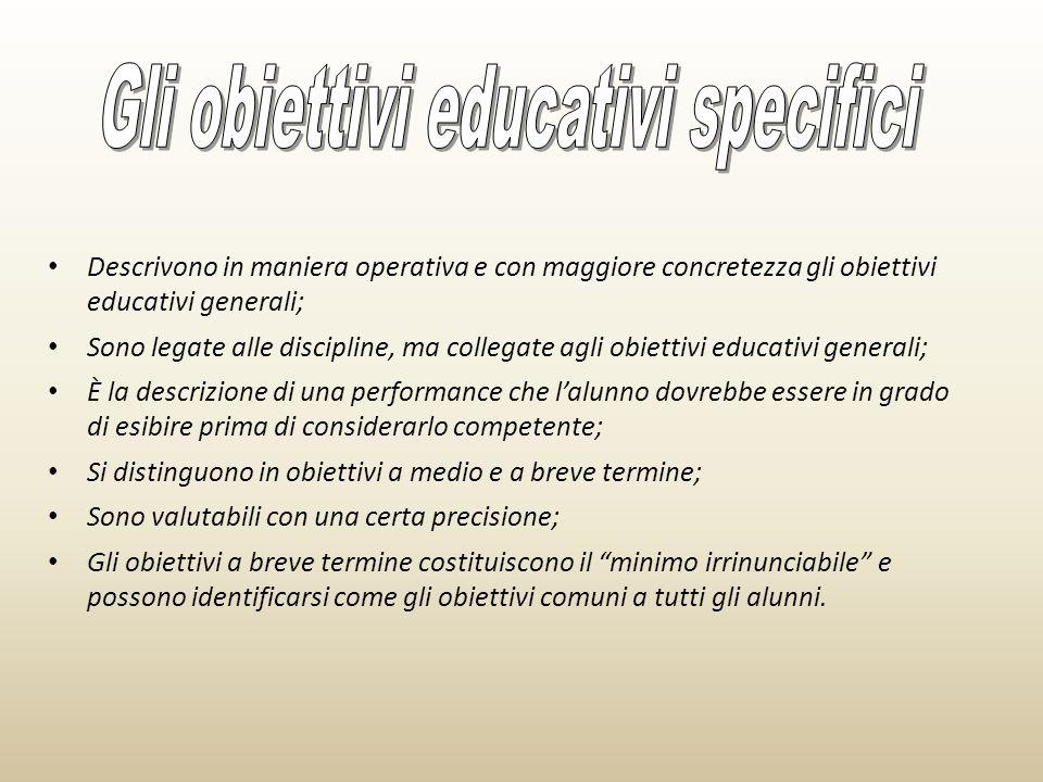 Gli obiettivi educativi specifici