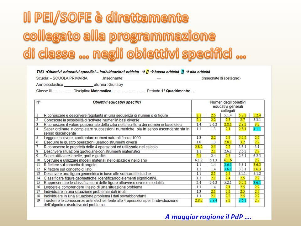 Il PEI/SOFE è direttamente collegato alla programmazione