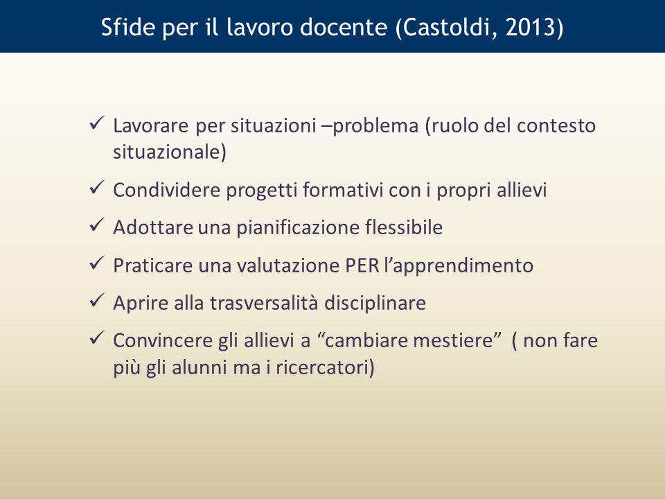 Sfide per il lavoro docente (Castoldi, 2013)