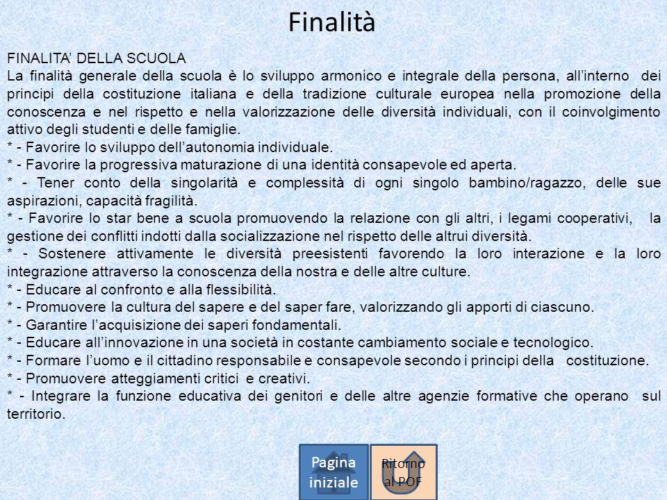 Finalità Pagina iniziale FINALITA' DELLA SCUOLA