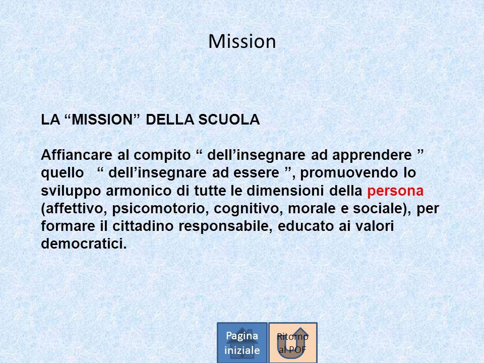 Mission LA MISSION DELLA SCUOLA