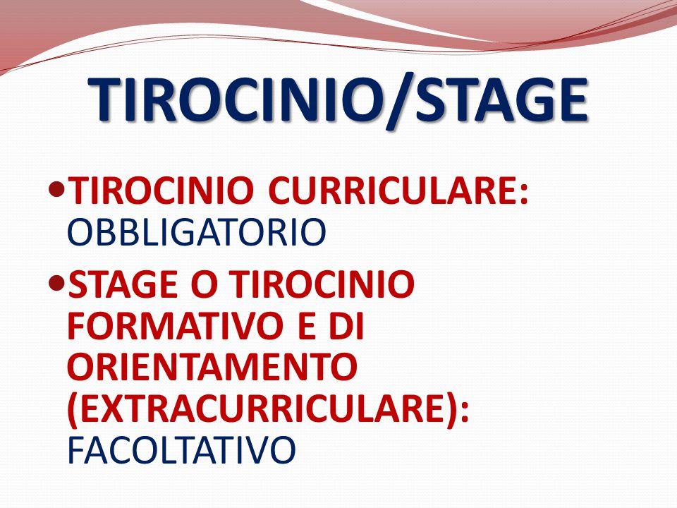 TIROCINIO/STAGE TIROCINIO CURRICULARE: OBBLIGATORIO