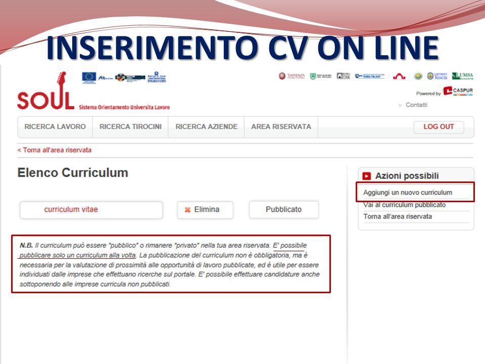 INSERIMENTO CV ON LINE