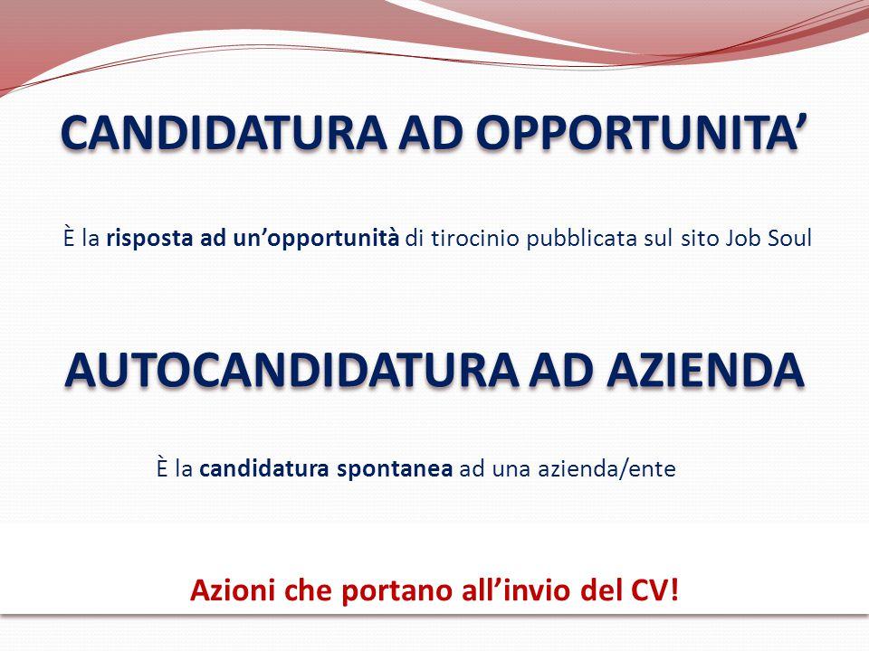 CANDIDATURA AD OPPORTUNITA' AUTOCANDIDATURA AD AZIENDA