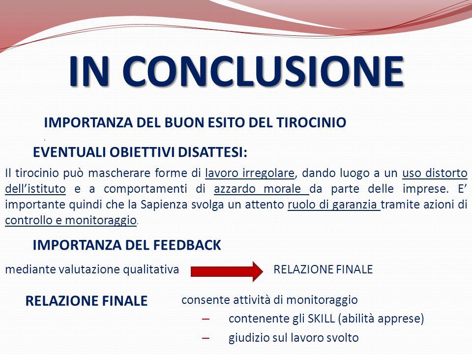 IN CONCLUSIONE IMPORTANZA DEL BUON ESITO DEL TIROCINIO