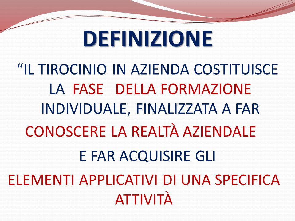 ELEMENTI APPLICATIVI DI UNA SPECIFICA ATTIVITÀ