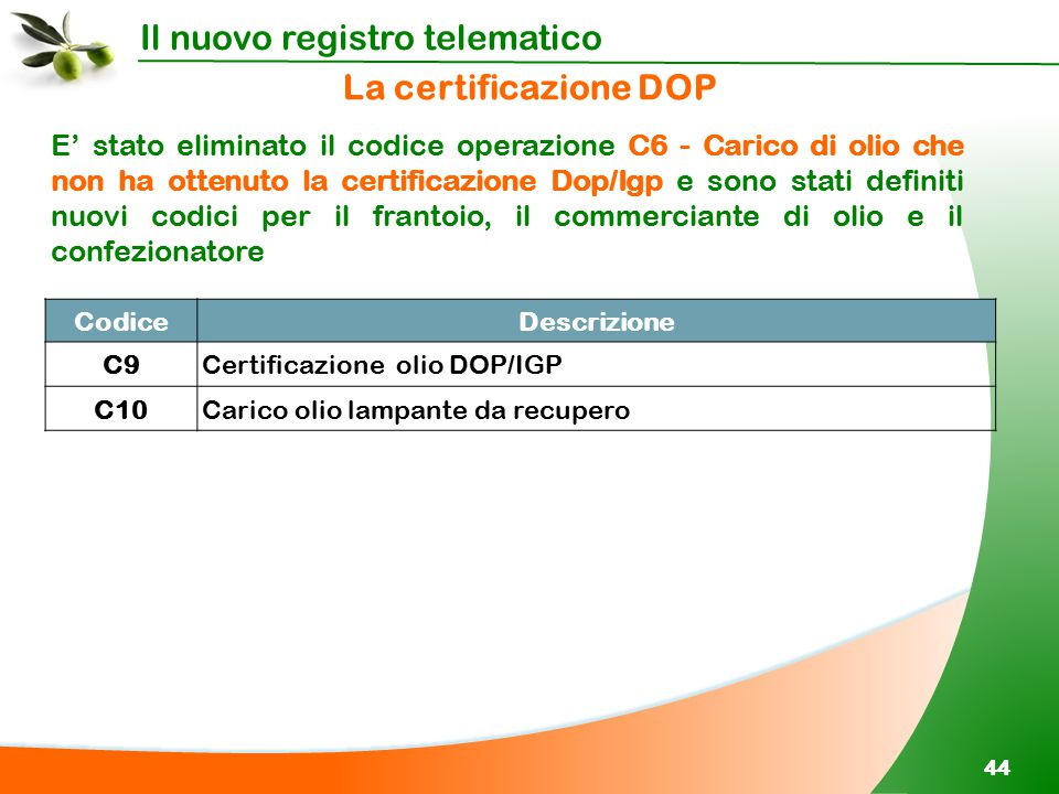 La certificazione DOP