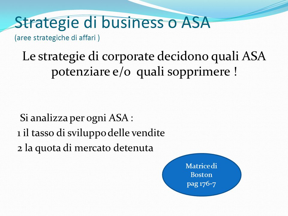 Strategie di business o ASA (aree strategiche di affari )