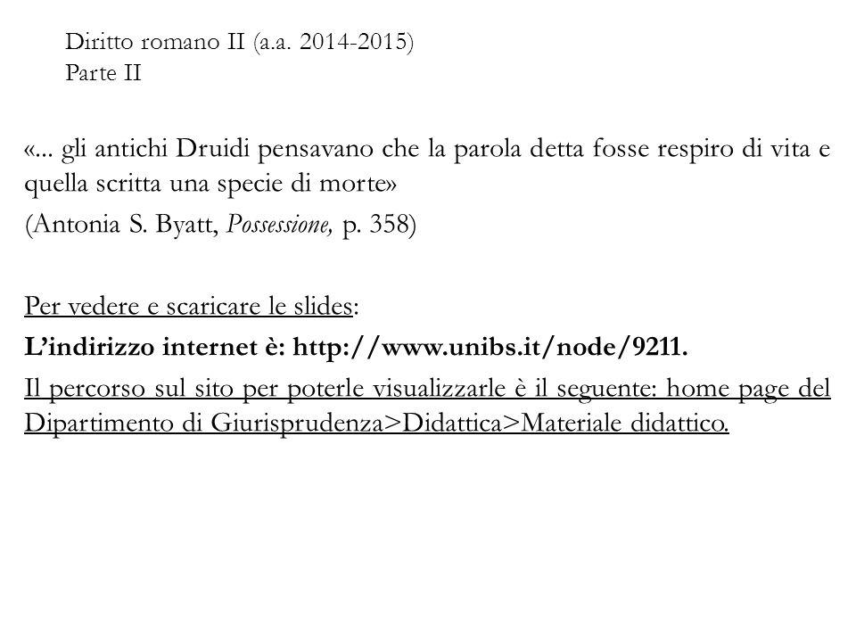 Diritto romano II (a.a. 2014-2015) Parte II