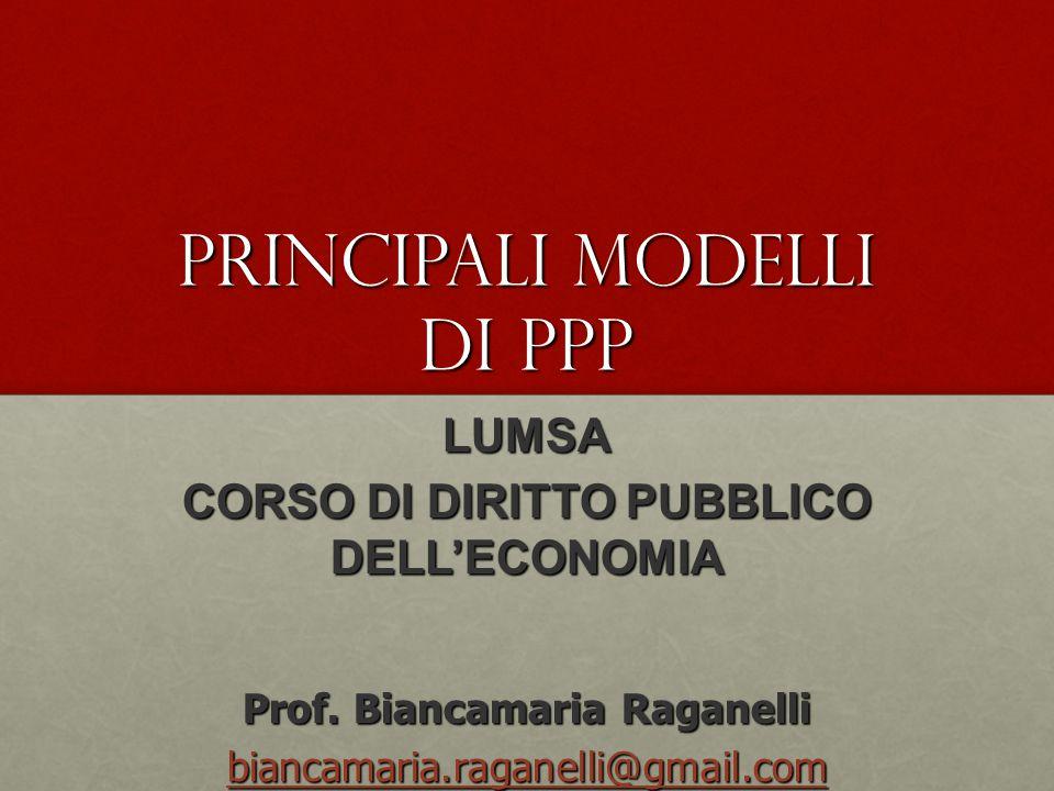 Principali modelli di PPP