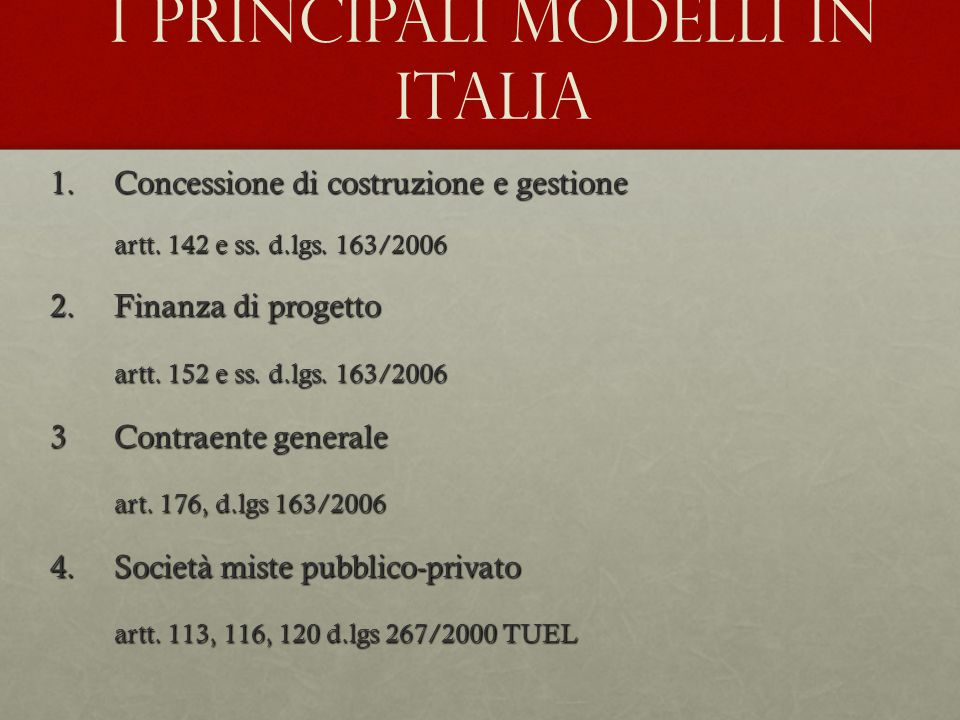 I principali modelli in Italia