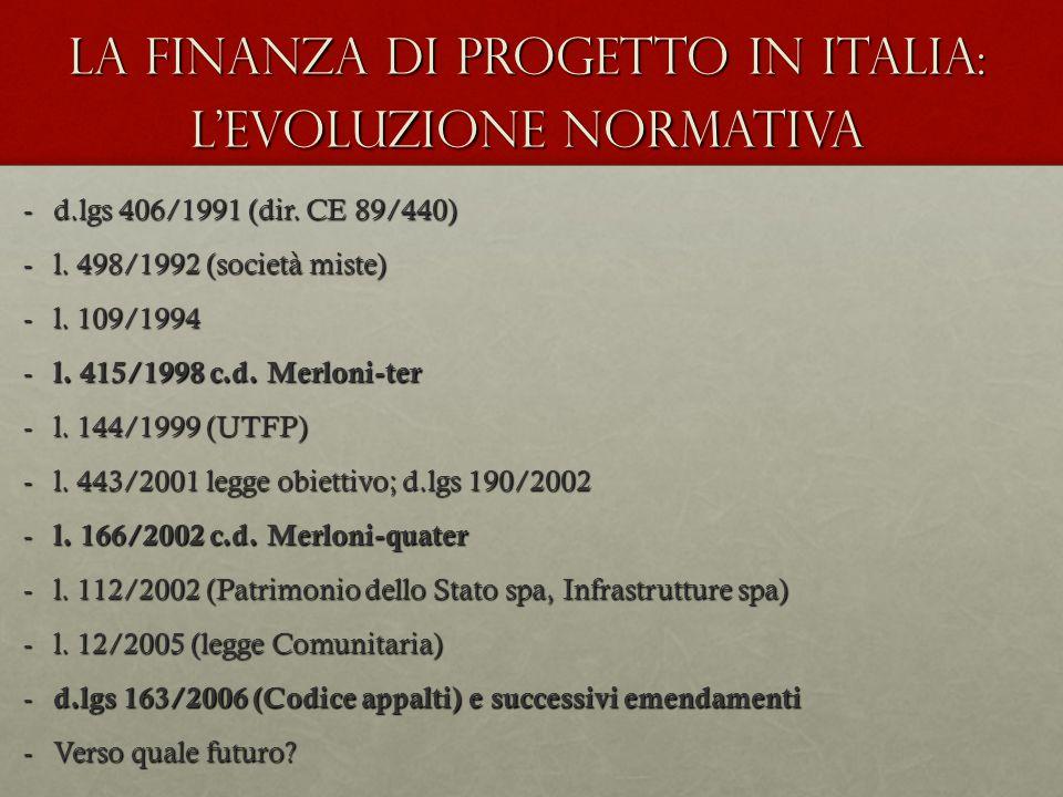 La Finanza di Progetto in Italia: l'evoluzione normativa