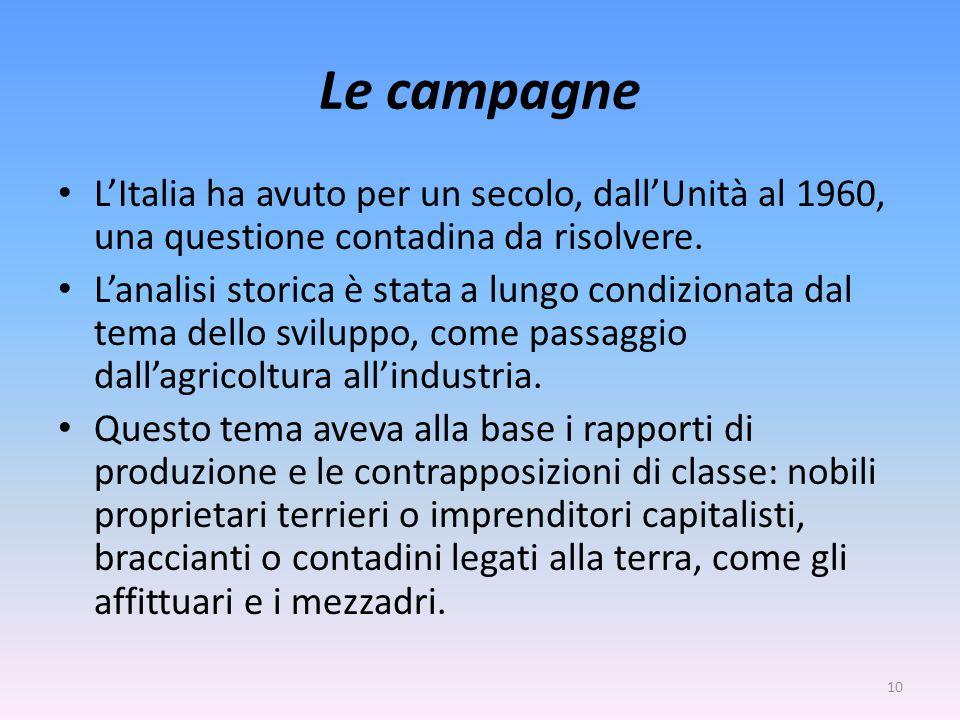 Le campagne L'Italia ha avuto per un secolo, dall'Unità al 1960, una questione contadina da risolvere.