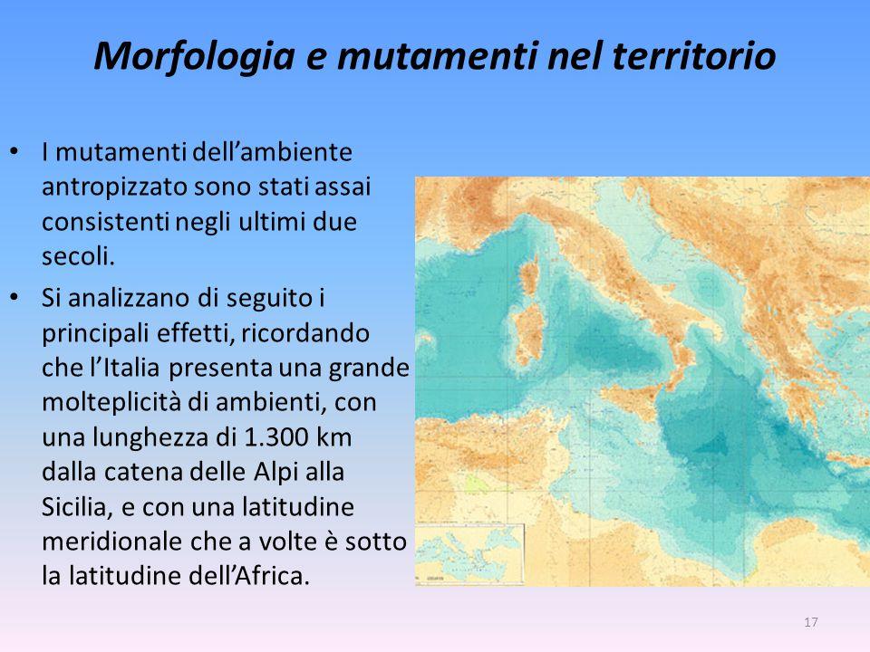 Morfologia e mutamenti nel territorio