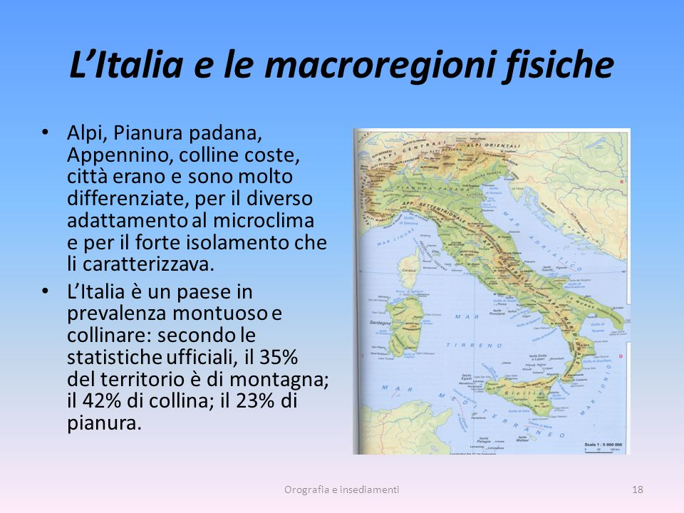 L'Italia e le macroregioni fisiche