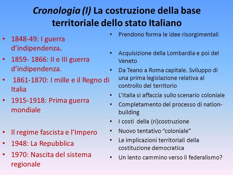 Cronologia (I) La costruzione della base territoriale dello stato Italiano