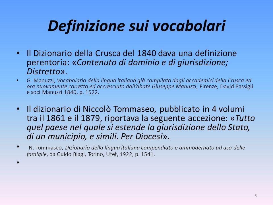 Definizione sui vocabolari