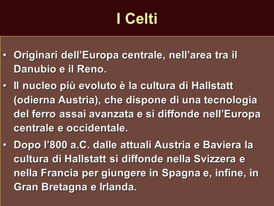 I Celti Originari dell'Europa centrale, nell'area tra il Danubio e il Reno.