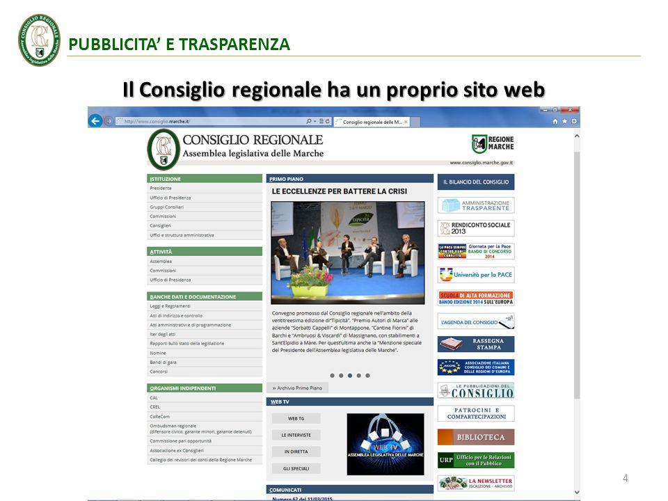 Il Consiglio regionale ha un proprio sito web