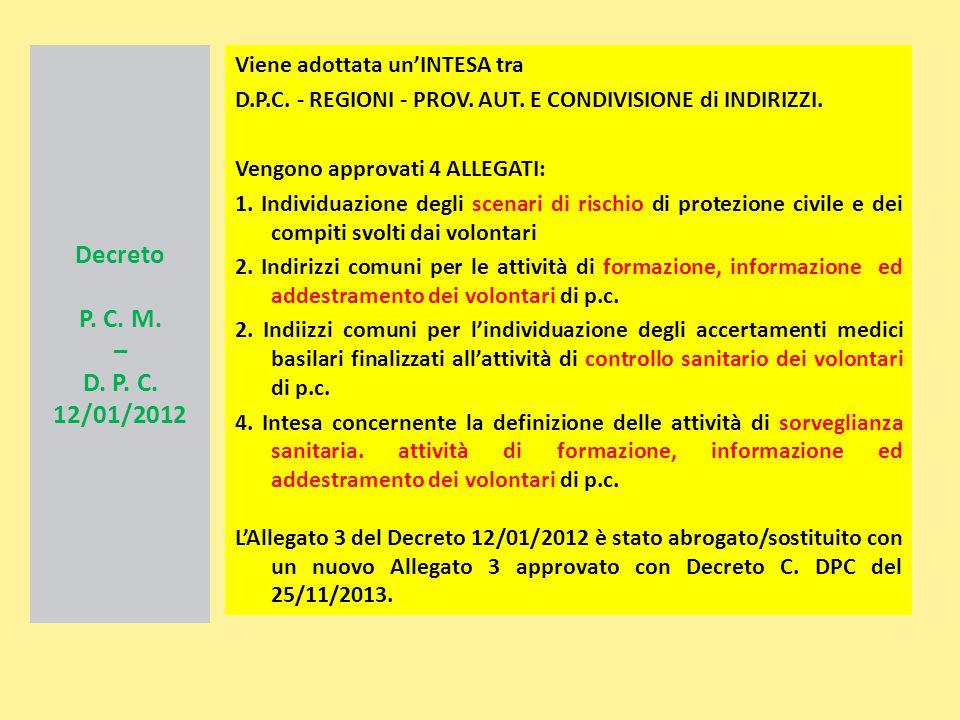 Decreto P. C. M. – D. P. C. 12/01/2012