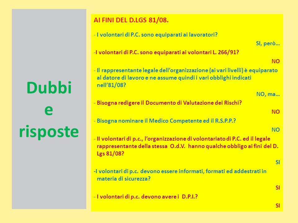Dubbi e risposte AI FINI DEL D.LGS 81/08.
