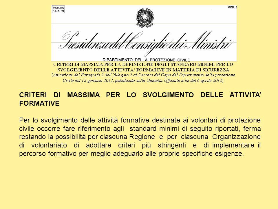 CRITERI DI MASSIMA PER LO SVOLGIMENTO DELLE ATTIVITA' FORMATIVE