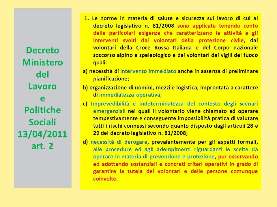 Decreto Ministero del Lavoro e Politiche Sociali 13/04/2011 art. 2