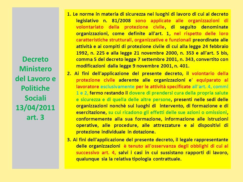 Decreto Ministero del Lavoro e Politiche Sociali 13/04/2011 art. 3