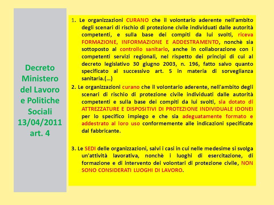 Decreto Ministero del Lavoro e Politiche Sociali 13/04/2011 art. 4