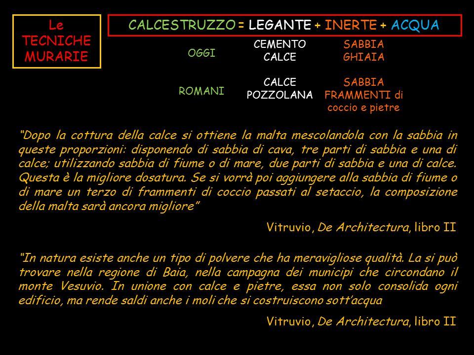 CALCESTRUZZO = LEGANTE + INERTE + ACQUA