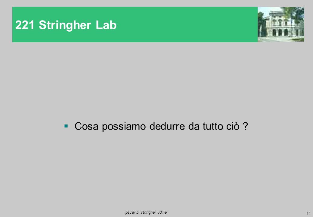 221 Stringher Lab Cosa possiamo dedurre da tutto ciò