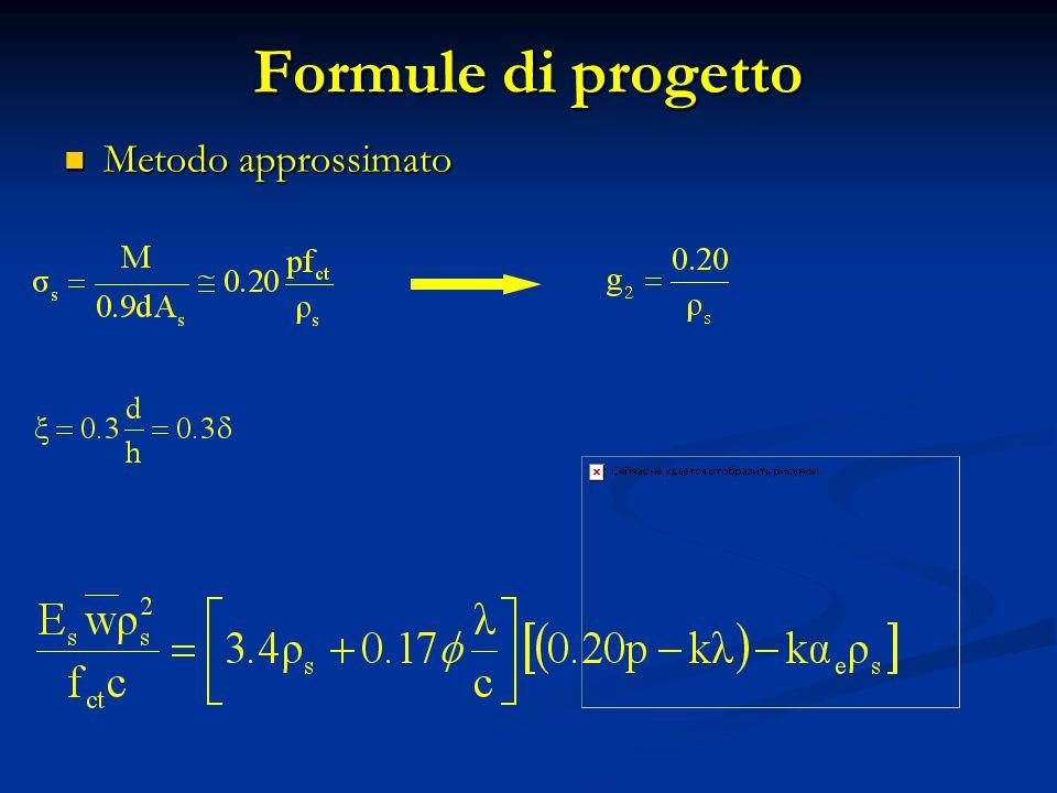 Formule di progetto Metodo approssimato