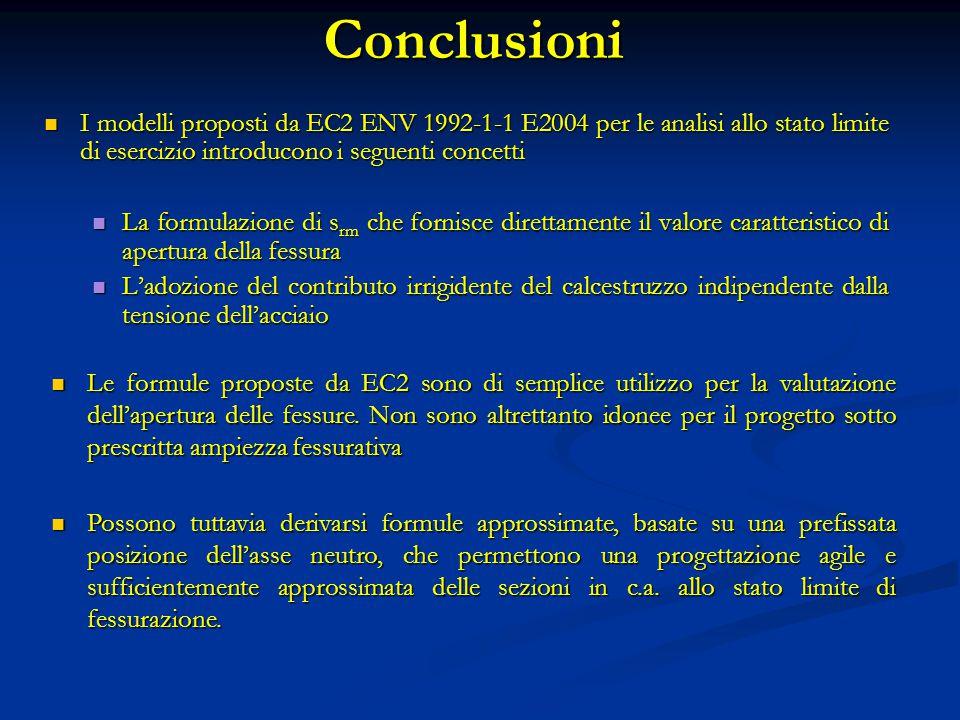Conclusioni I modelli proposti da EC2 ENV 1992-1-1 E2004 per le analisi allo stato limite di esercizio introducono i seguenti concetti.