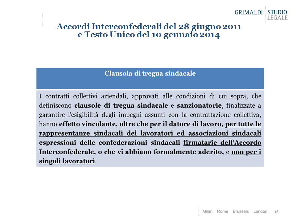 Accordi Interconfederali del 28 giugno 2011 e Testo Unico del 10 gennaio 2014