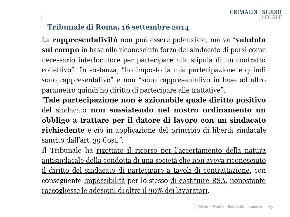 Tribunale di Roma, 16 settembre 2014