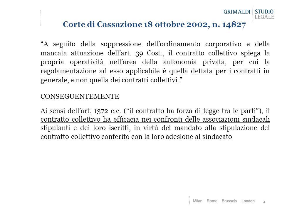Corte di Cassazione 18 ottobre 2002, n. 14827