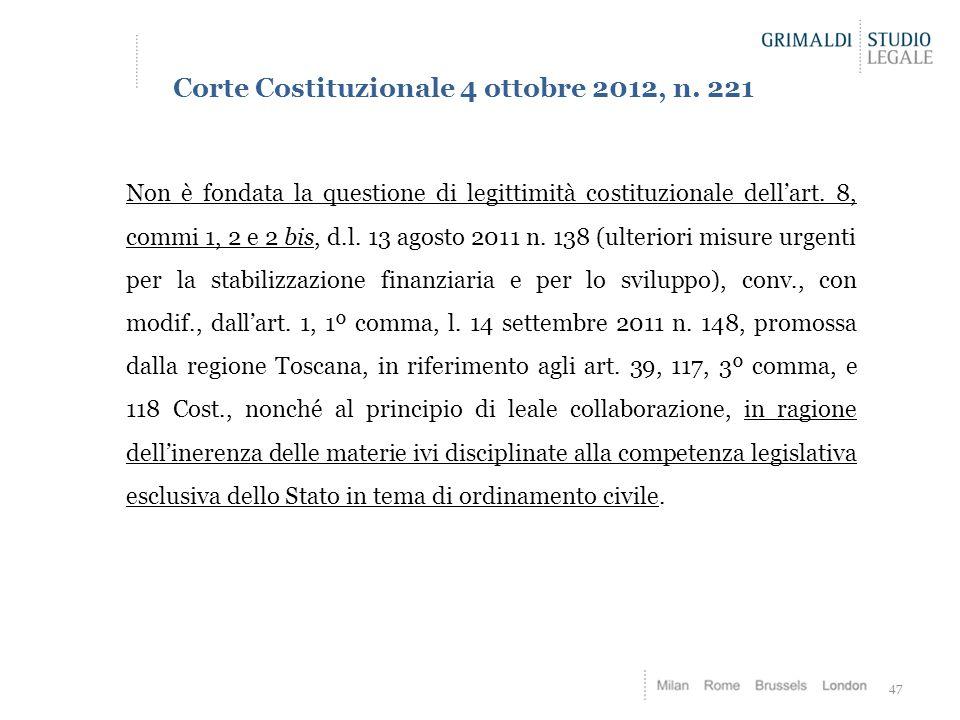 Corte Costituzionale 4 ottobre 2012, n. 221