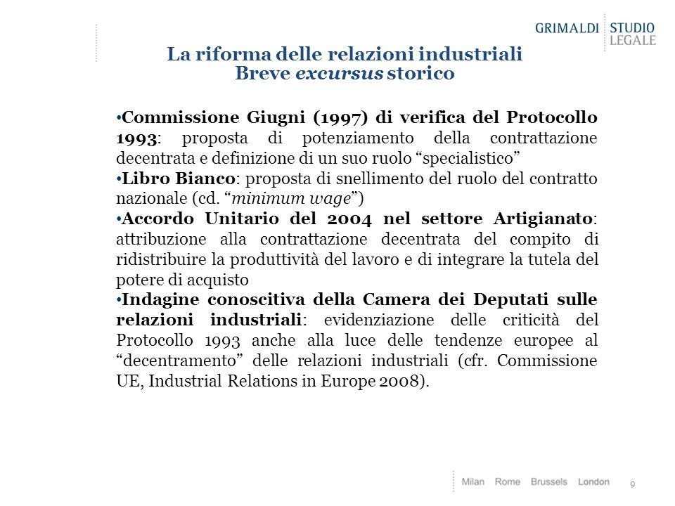 La riforma delle relazioni industriali Breve excursus storico