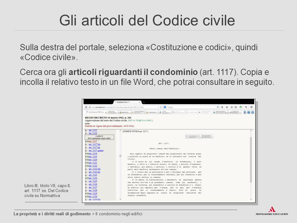 Gli articoli del Codice civile