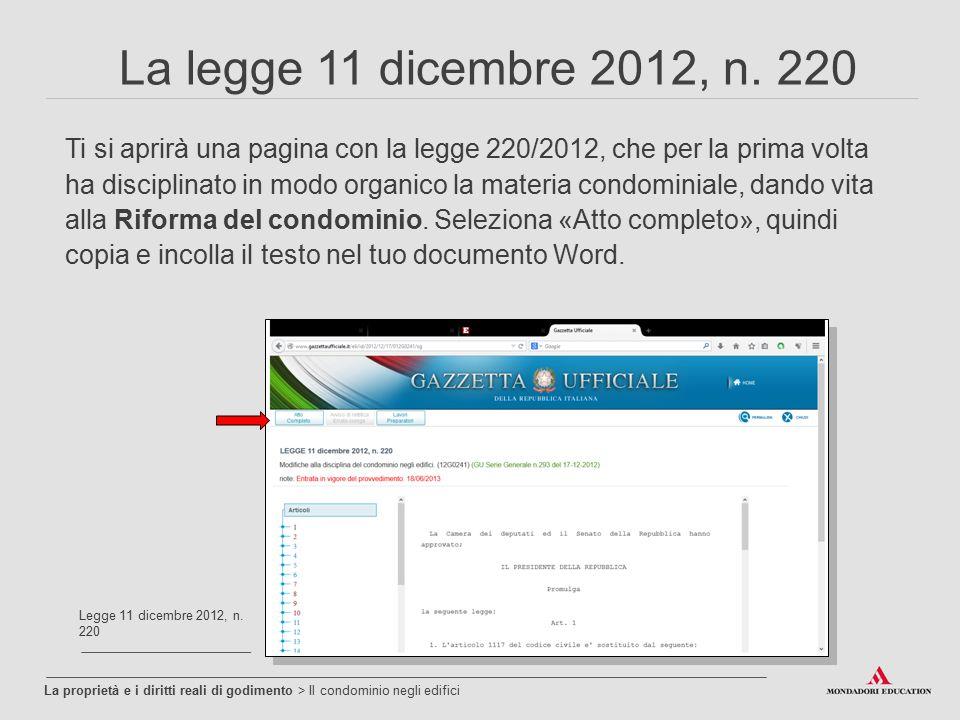 La legge 11 dicembre 2012, n. 220