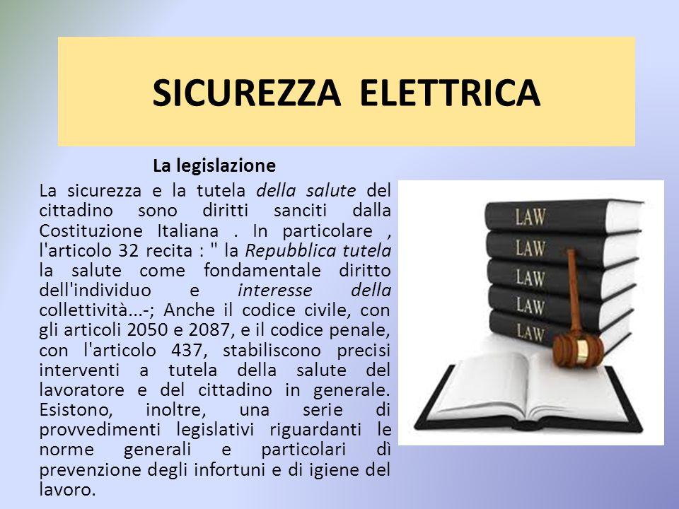 SICUREZZA ELETTRICA La legislazione