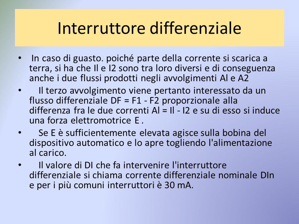 Interruttore differenziale