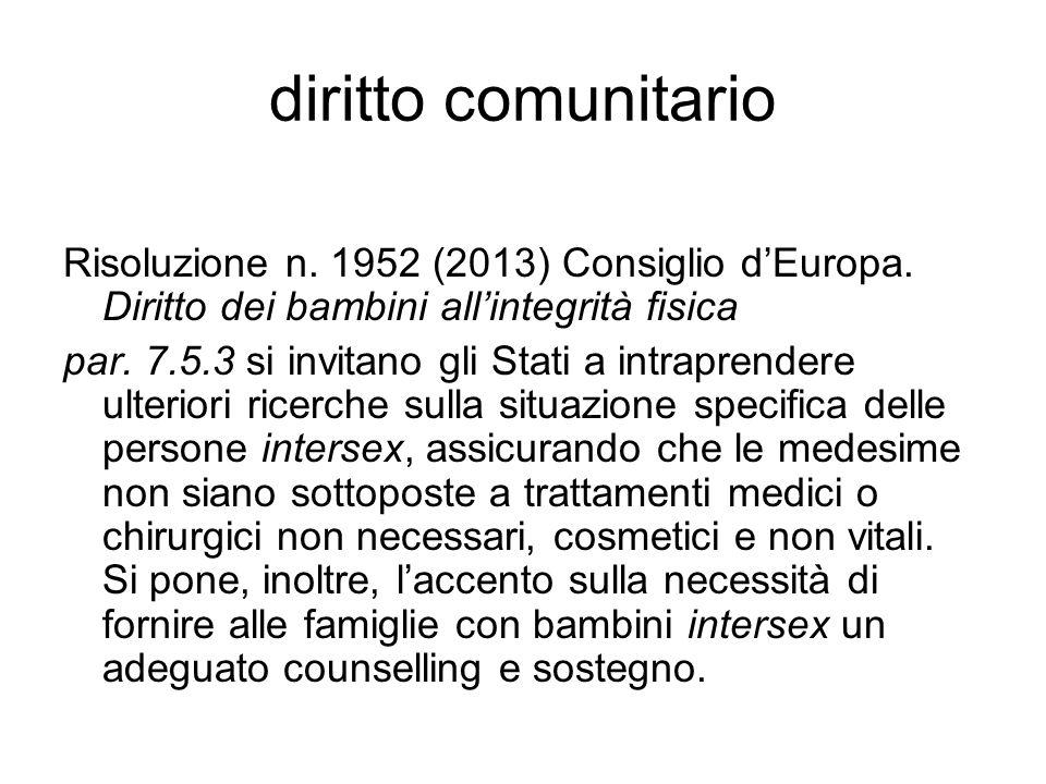 diritto comunitario Risoluzione n. 1952 (2013) Consiglio d'Europa. Diritto dei bambini all'integrità fisica.