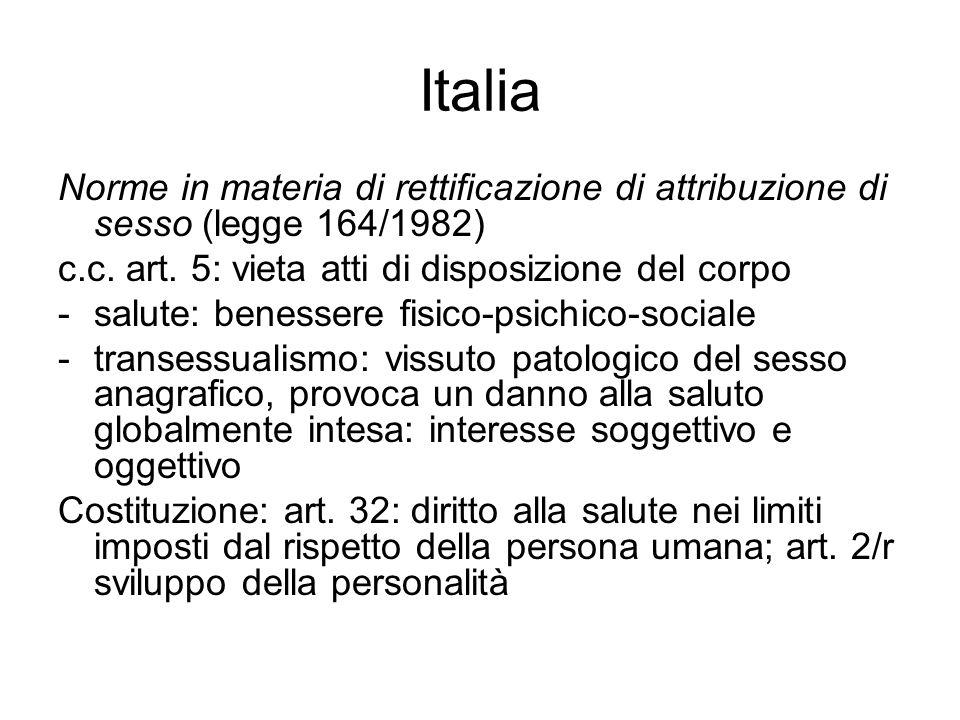 Italia Norme in materia di rettificazione di attribuzione di sesso (legge 164/1982) c.c. art. 5: vieta atti di disposizione del corpo.