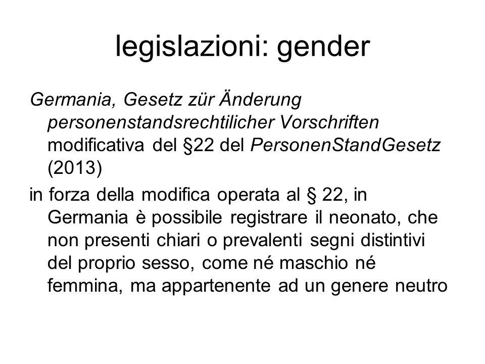 legislazioni: gender Germania, Gesetz zür Änderung personenstandsrechtilicher Vorschriften modificativa del §22 del PersonenStandGesetz (2013)