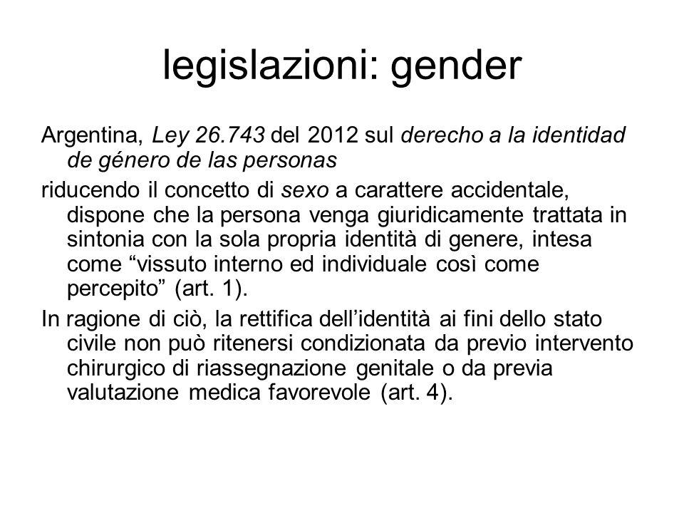 legislazioni: gender Argentina, Ley 26.743 del 2012 sul derecho a la identidad de género de las personas.