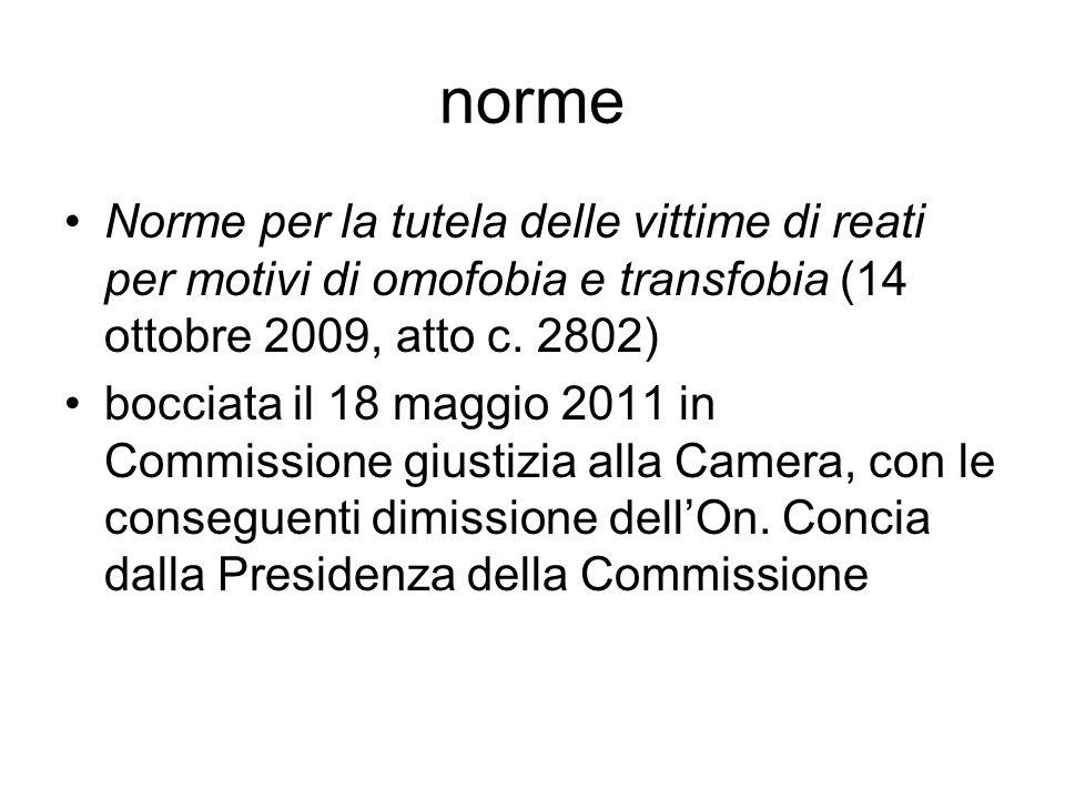 norme Norme per la tutela delle vittime di reati per motivi di omofobia e transfobia (14 ottobre 2009, atto c. 2802)