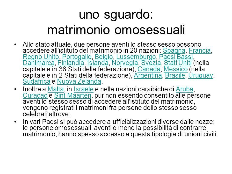 uno sguardo: matrimonio omosessuali