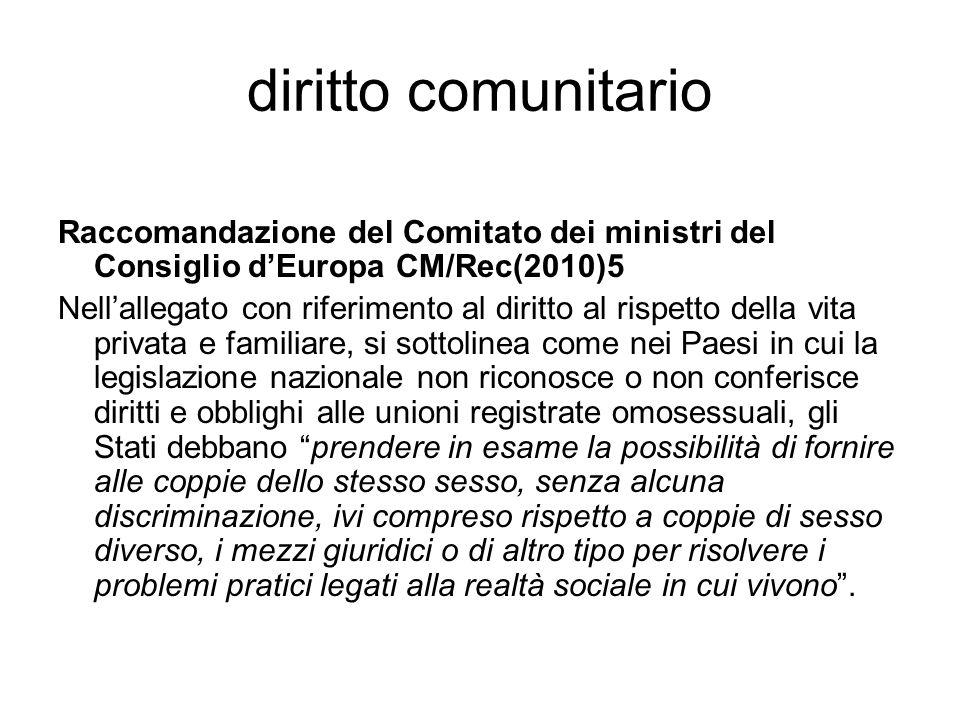 diritto comunitario Raccomandazione del Comitato dei ministri del Consiglio d'Europa CM/Rec(2010)5.
