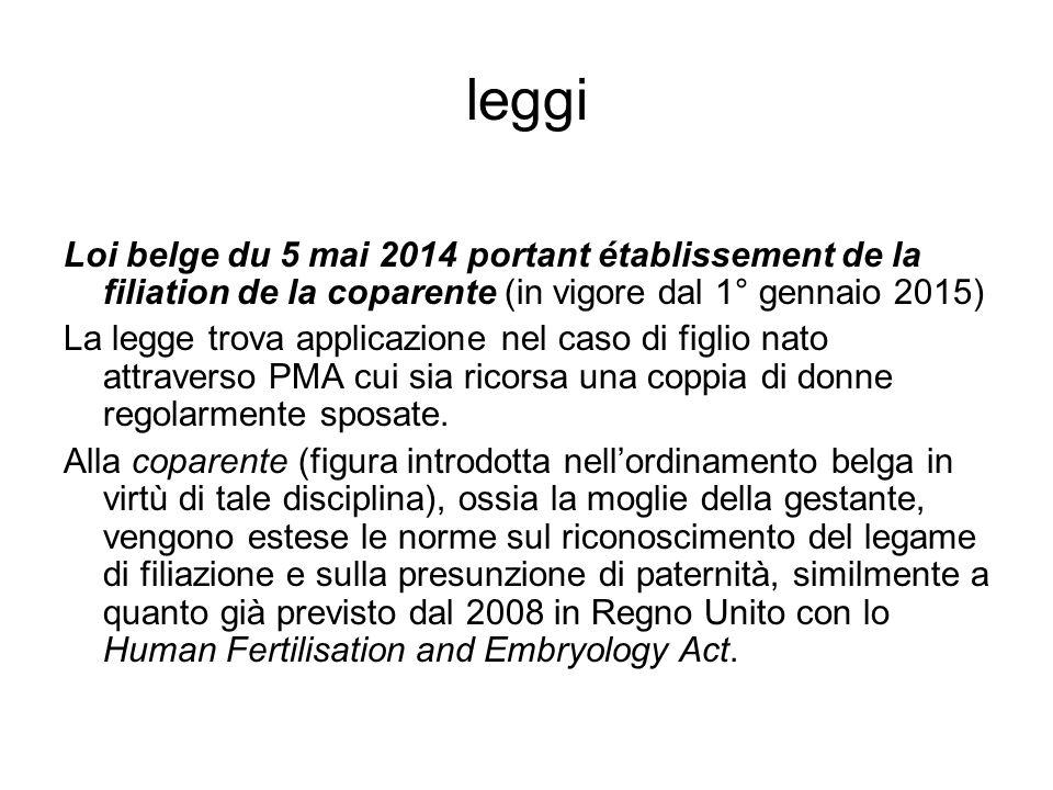 leggi Loi belge du 5 mai 2014 portant établissement de la filiation de la coparente (in vigore dal 1° gennaio 2015)